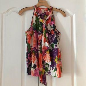 J. Crew Silk Bow Cami Garden Floral Silk Top Shirt